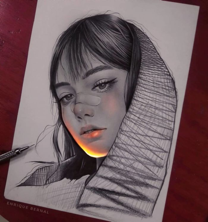 This Mexican Artist's Unique Technique Makes It Look Like His Drawings Are Glowing