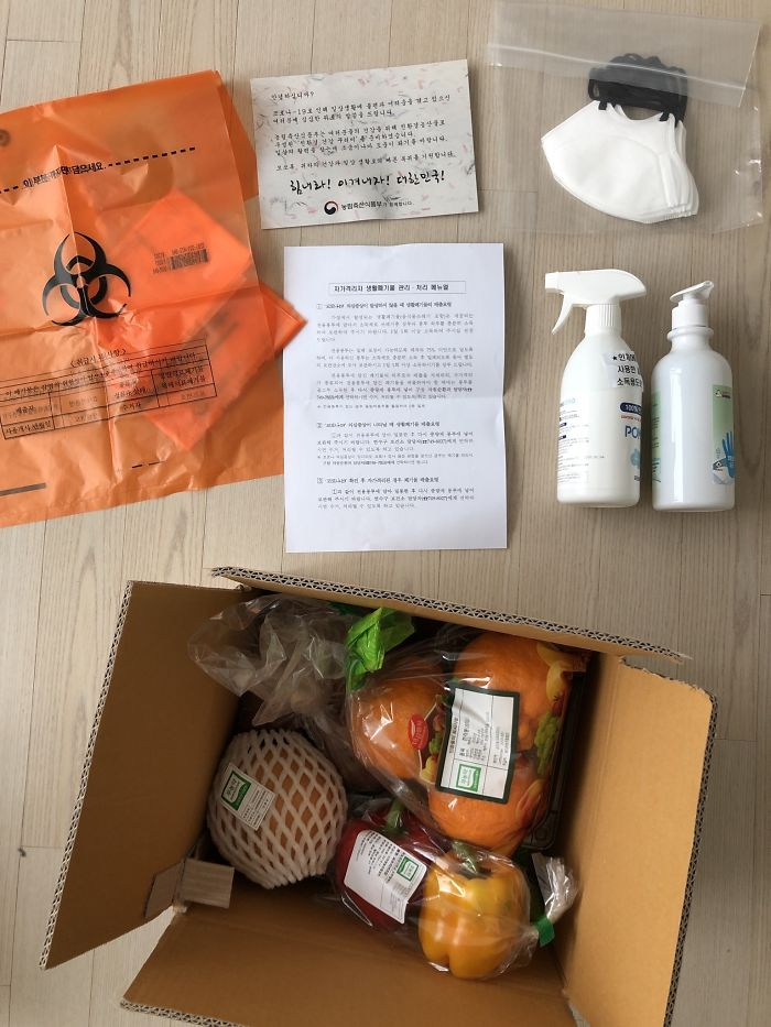 Someone Shares The Contents Of A Coronavirus Comfort Package Supplied By The South Korean Government