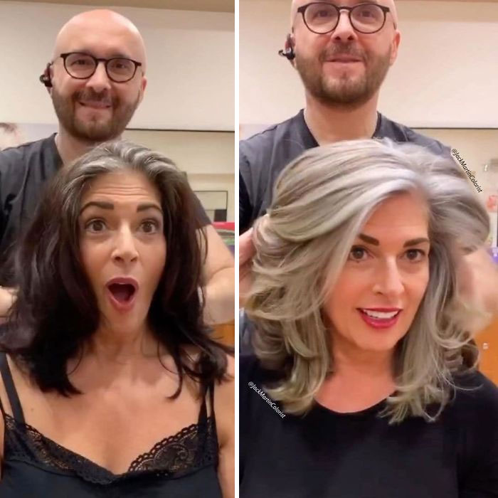 This Hairdresser Encourages Women To Embrace Their Grey Hair Instead Of Dying It (35 Pics)