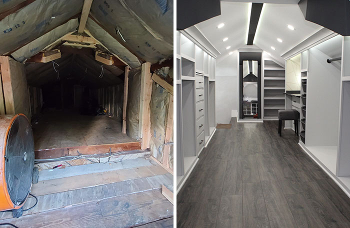Husband Turns A Derelict Old Attic Into A Dream Walk-In Closet For His Wife