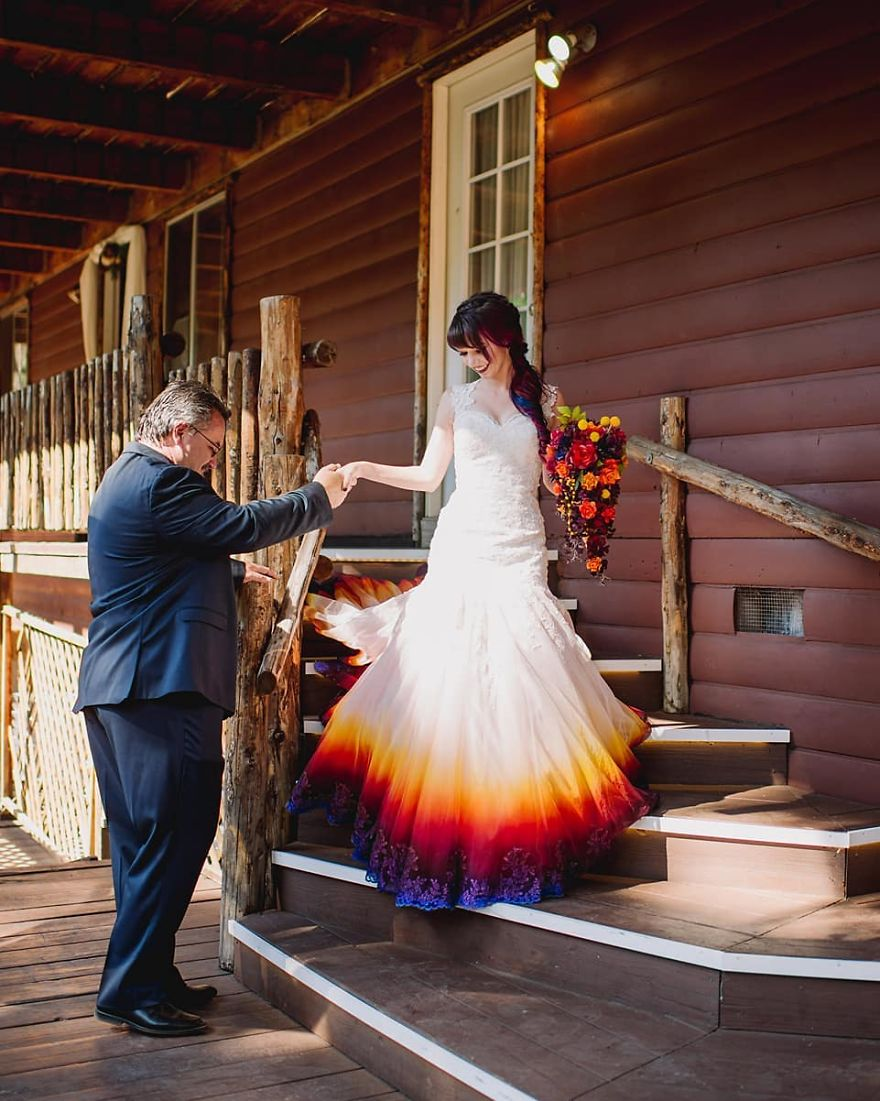 Artist Starts Creating Colorful Wedding Dresses After Her Fire Wedding Gown Goes Viral Demilked,Wholesale Cheap Wedding Dresses