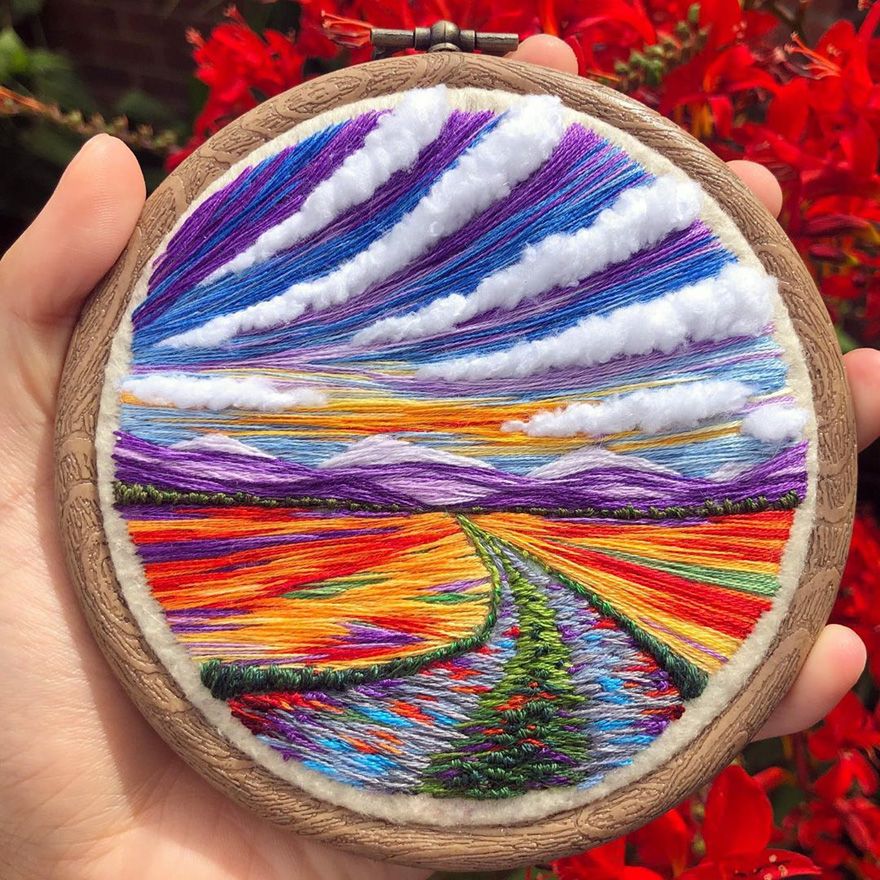 UK-Based Embroidery Artist Sew Beautiful Creates Beautiful Landscapes Inspired By Mother Nature (20 Pics)