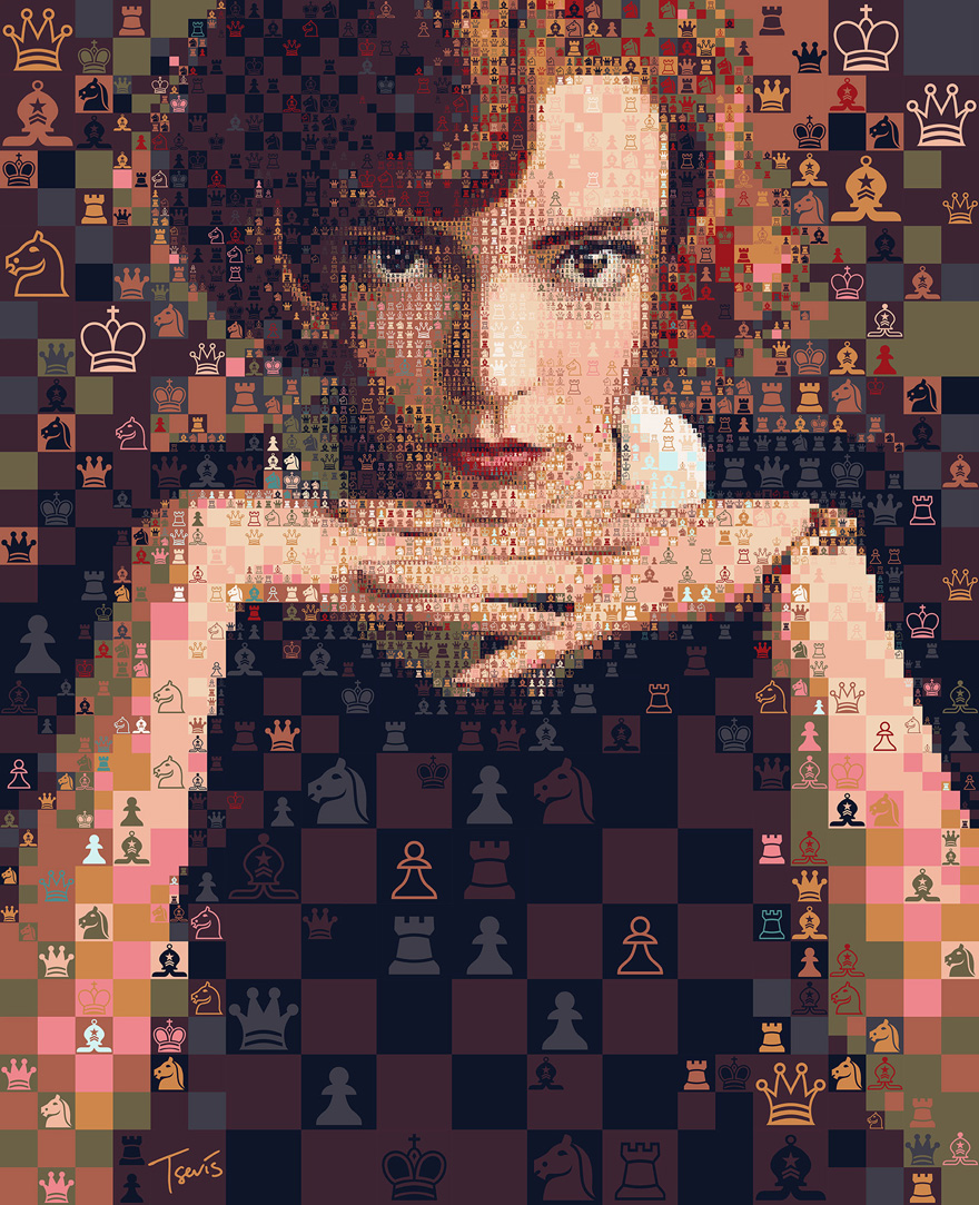 These Mosaics Of Beth Harmon From 'The Queen's Gambit' Were Created Using Thousands Of Chess Symbols (12 Pics)