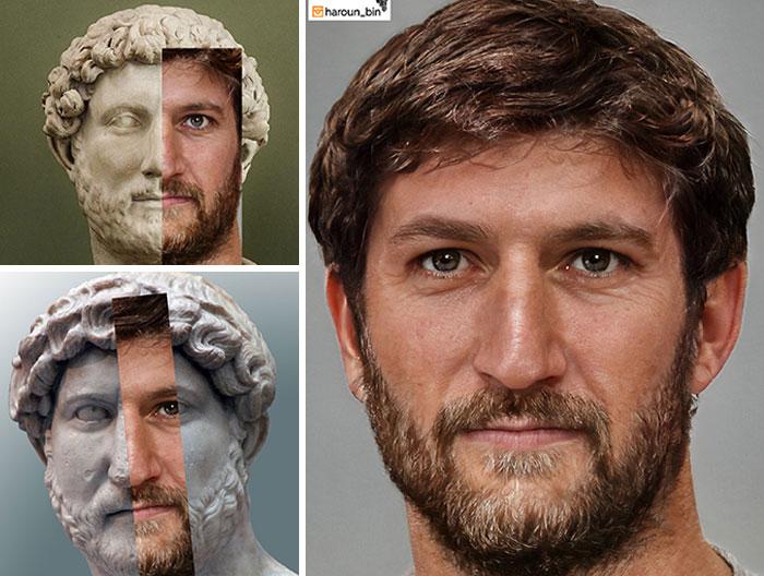 Reconstitution du visage de l'empereur romain Hadrien par l'artiste Haroun Binous - Cultea