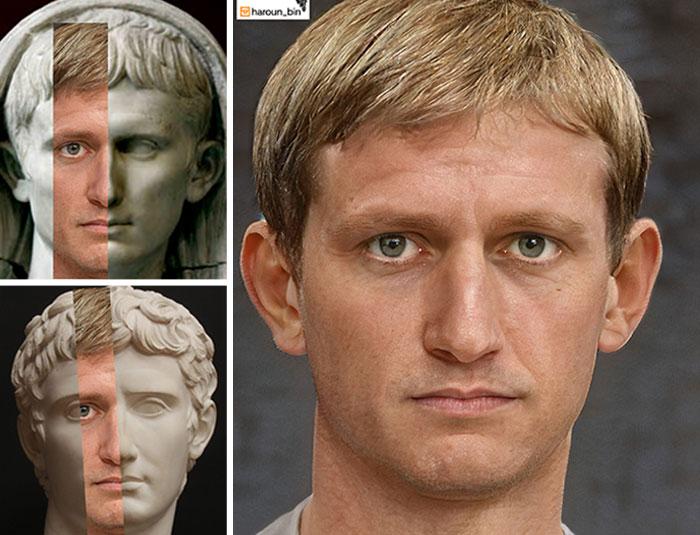 Reconstitution du visage de l'empereur romain Auguste par l'artiste Haroun Binous - Cultea