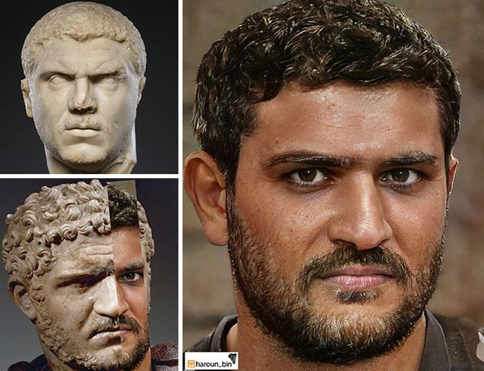 Reconstitution du visage de l'empereur romain Caracalla par l'artiste Haroun Binous - Cultea