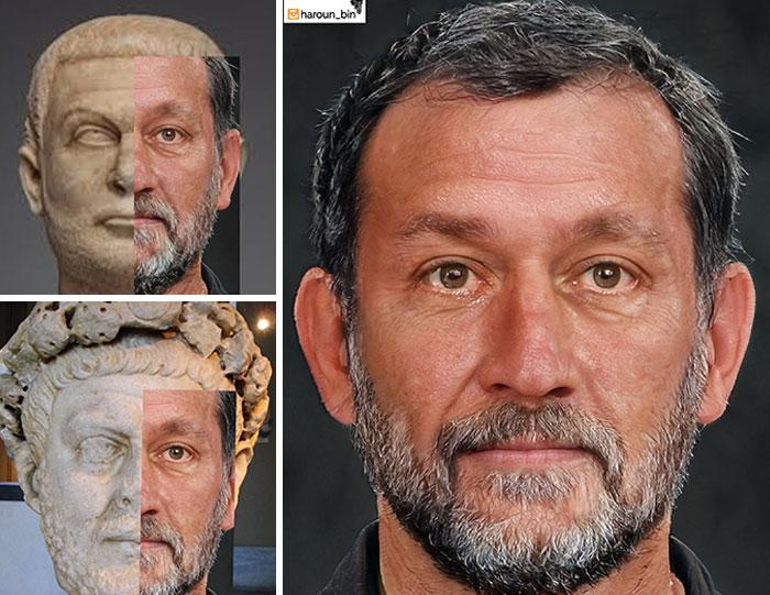 Reconstitution du visage de l'empereur romain Dioclétien par l'artiste Haroun Binous - Cultea