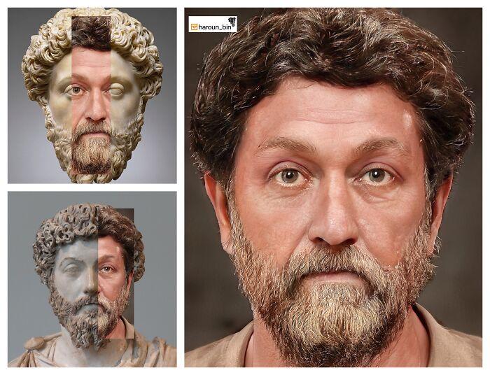 Reconstitution du visage de l'empereur romain Marc Aurèle par l'artiste Haroun Binous - Cultea