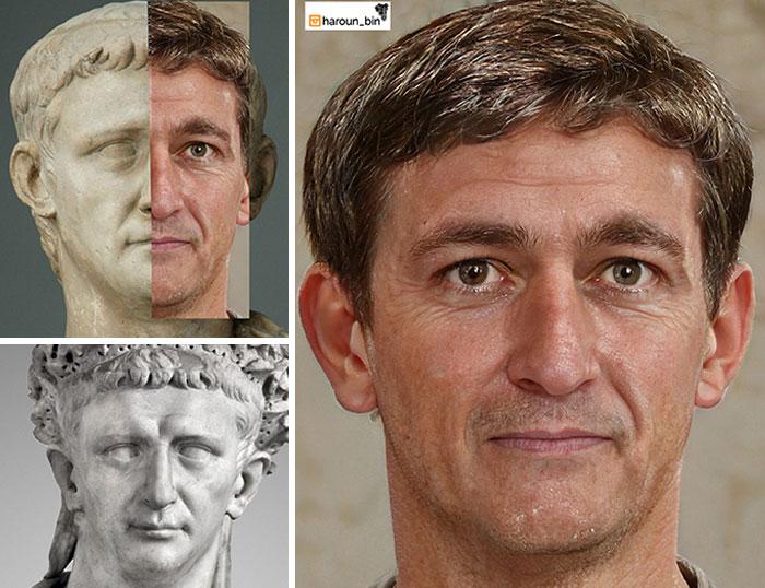 Reconstitution du visage de l'empereur romain Claude par l'artiste Haroun Binous - Cultea