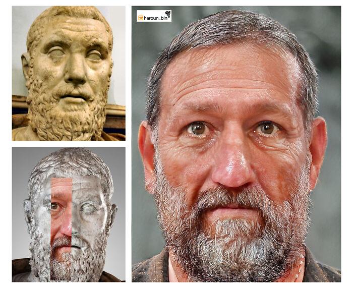 Reconstitution du visage de l'empereur romain Macrin par l'artiste Haroun Binous - Cultea