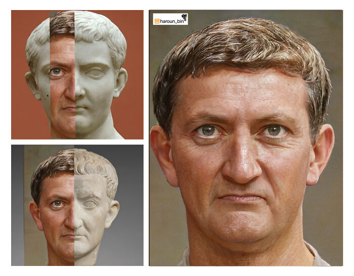 Reconstitution du visage de l'empereur romain Tibère par l'artiste Haroun Binous - Cultea