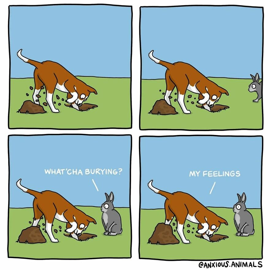 """30 Funny And Relatable """"Anxious Animals"""" Comics"""
